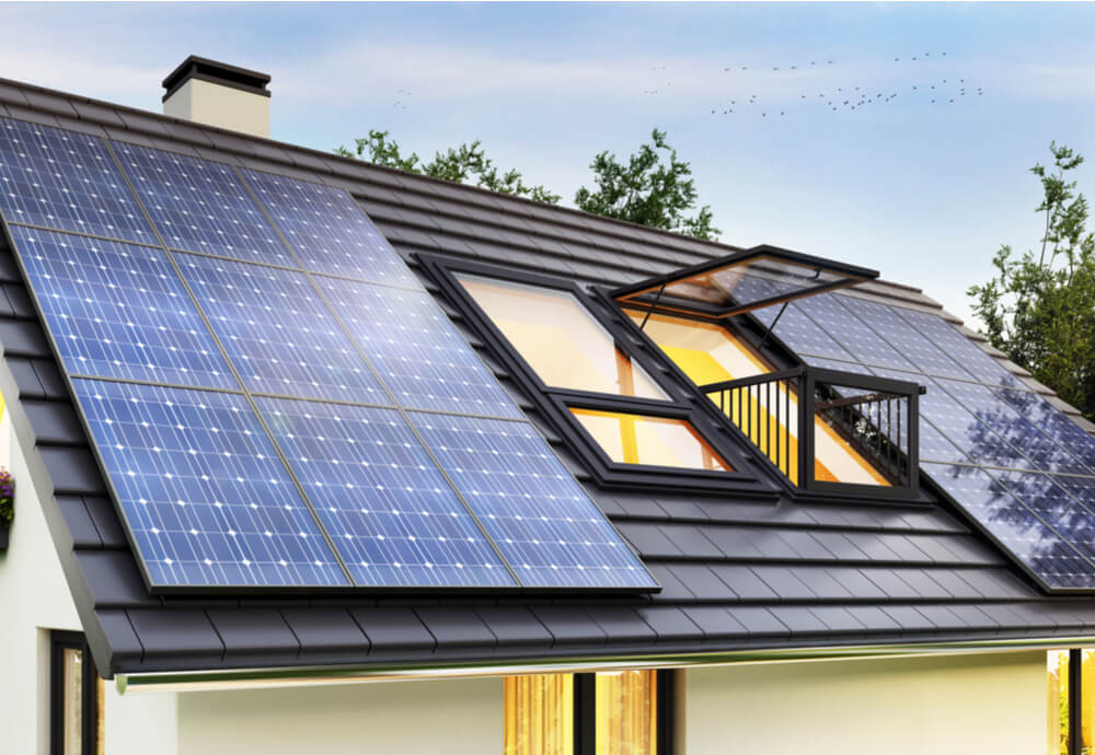 a roof with solar panels