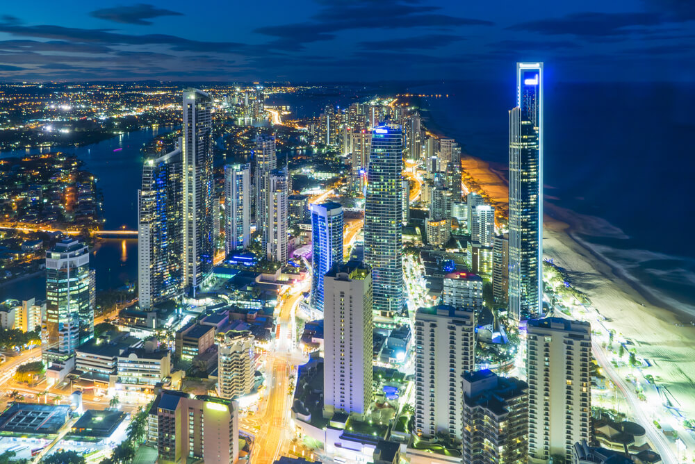 night view of seaside cbd representing cheapest electricity gold coast