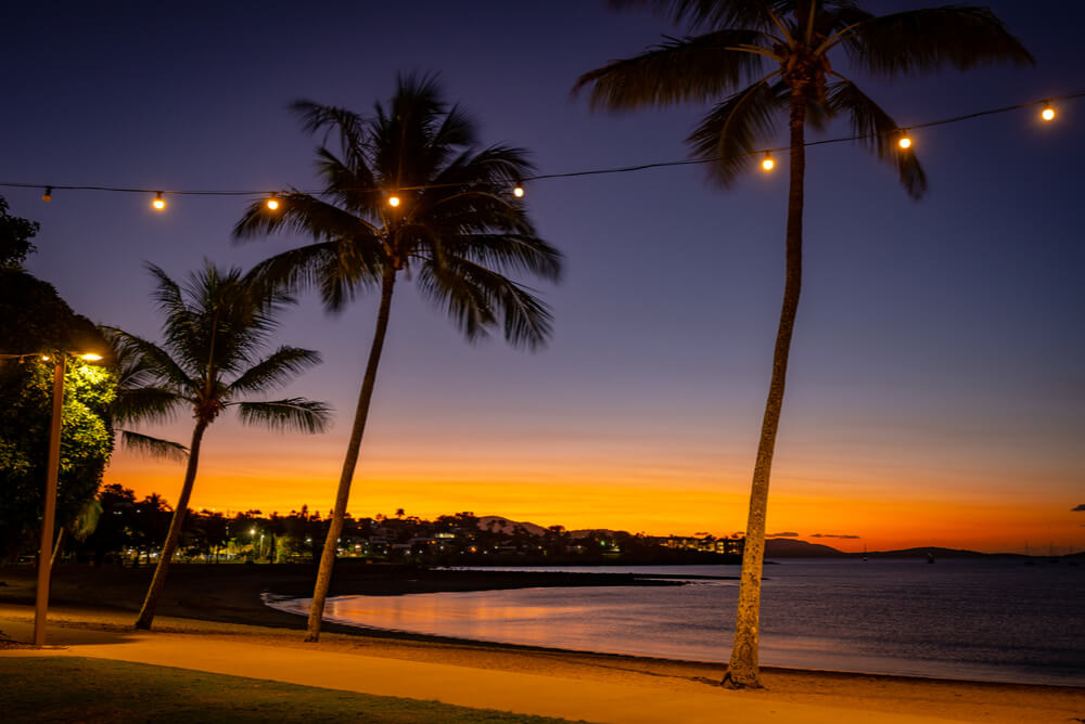 sunset at airlie beach representing qld electricity providers