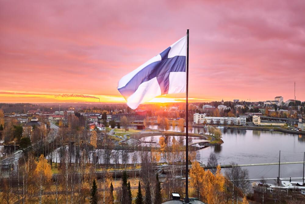 Finland flag at Joensuu City Hall