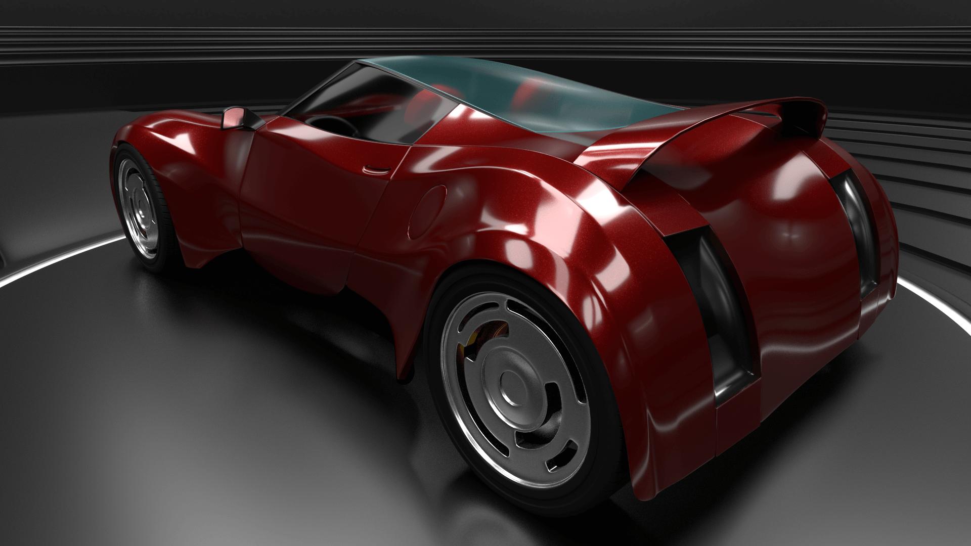 Fred Flintstone's car the Flintmobile as a supercar 3