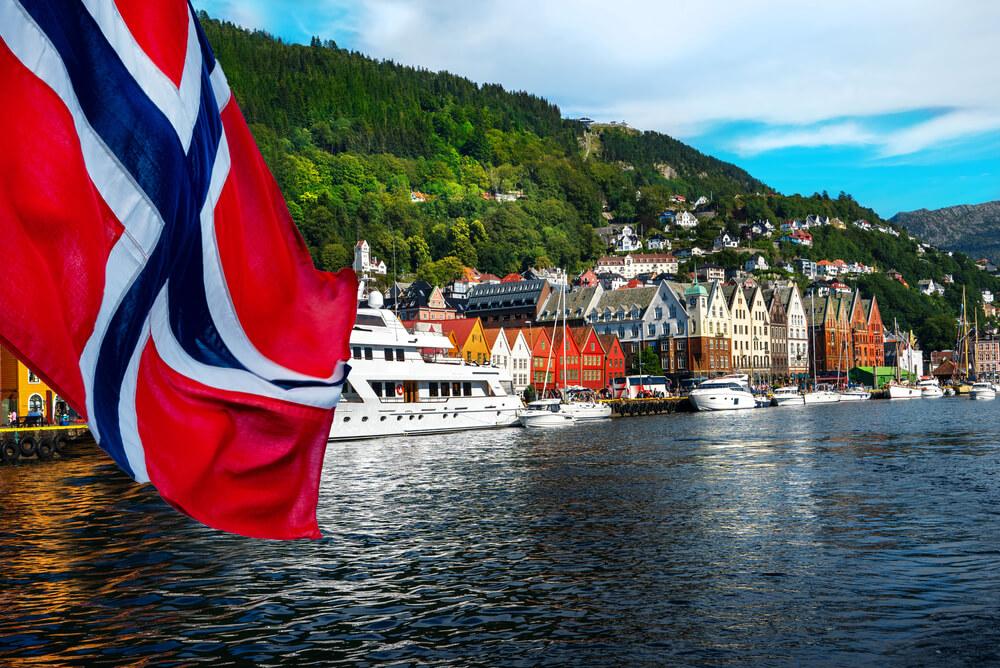Norway flag in Port Bergen
