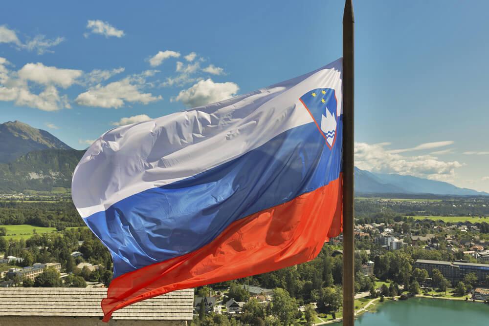 Slovenia flag at Lake Bled