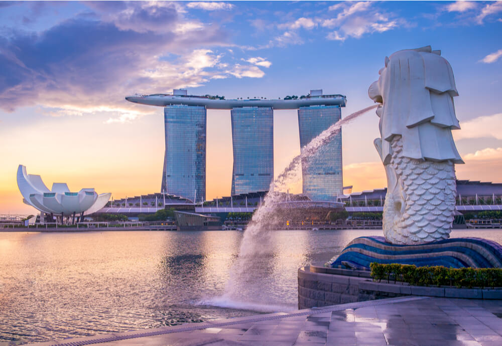 View of Singapore hotel with Lion fountain