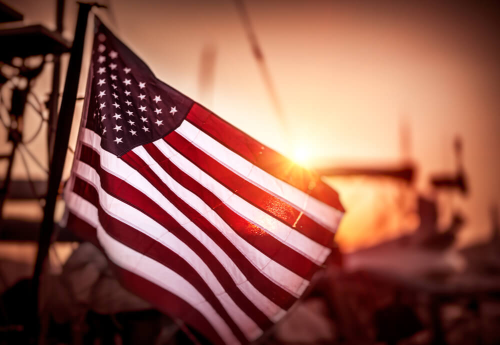 An American flag catching the light