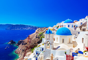 Buildings by the sea in Greece