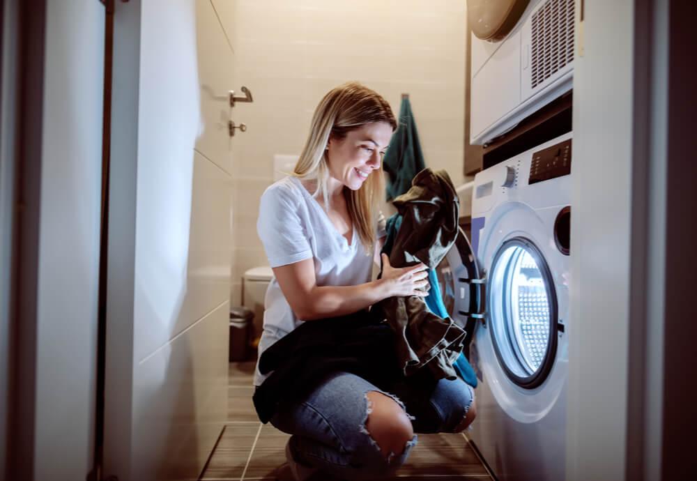Woman doing washing overnight